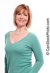 Beautiful middleaged woman on a white background - Beautiful...