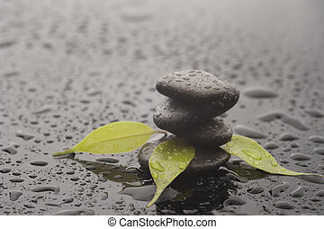 Stones with leaves and water drops