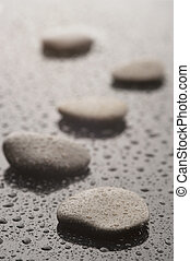 Stones with water drops