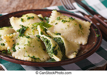 ravioli with spinach and cheese close-up horizontal -...