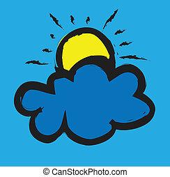 いたずら書き, 雲, 太陽
