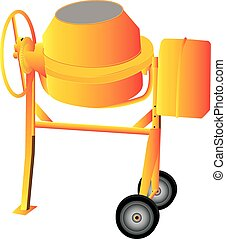 Cement Mixer - An Orange Cement Mixer isolated on white