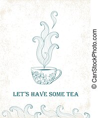 Card for tea party Hand drawn tea mug with floral pattern...