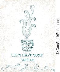 Card for tea party Hand drawn mug with floral pattern Vector...