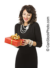 Woman Opening Gift Box, Happy Girl in Black Dress with Red Prese
