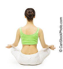 Yoga Back Side, Woman Meditating in Lotus Position. Female Rear