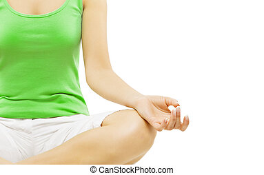 Yoga Hand, Woman Meditation Sitting in Lotus Pose, Isolated...