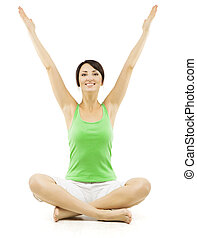 Yoga Woman, Happy Female Open Hands Raised Up, Sitting in Lotus