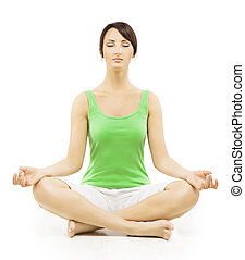 Yoga Woman in Meditation Sitting in Lotus Pose. Female Meditatin