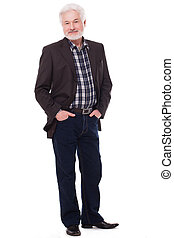 Handsome elderly man with grey beard isolated over white...