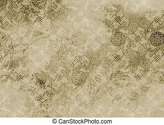 Chinese textured pattern in filigree for background or wallpaper - rough and vintage