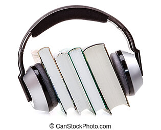 headphones and books audio book concept