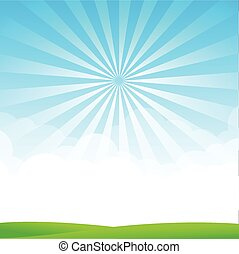 Blue sky cloud sunburst and green field vector illustration