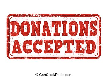 Donations accepted stamp