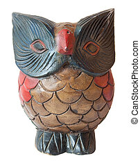 Owl ornament wooden sculpture painted