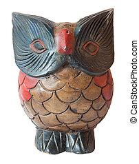 búho, ornamento, de madera, Escultura, pintado