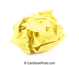 Yellow paper - Image of paper crumpled yellow color texture