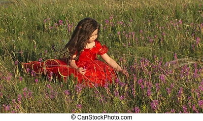 Beautiful Little Girl in Field of Lavender - Pretty little...