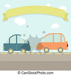 Car crash - Two cars hit head-on Flat design Ribbon for...