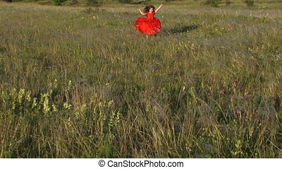 Beautiful Little Girl Running in Green Meadow - Pretty...