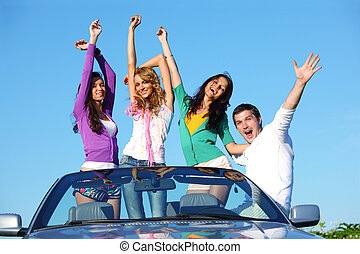 joy in cabriolet - people group fun in cabriolet