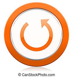 Appelsin,  reload, gå rundt, ikon, Tegn