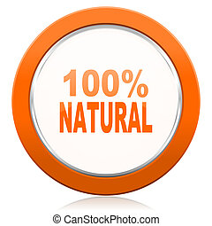 natural orange icon 100 percent natural sign
