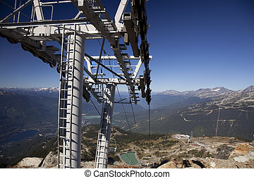 Chairlift tower. - Chairlift tower of the Peak Chair at the...