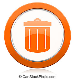 recycle orange icon recycle bin sign