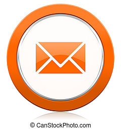 オレンジ, ポスト, アイコン, 電子メール, 印