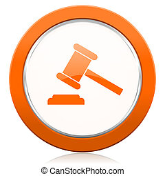 auction orange icon court sign verdict symbol