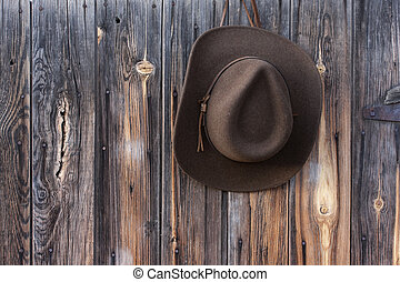 felt cowboy hat on barn wall - brown wool felt cowboy hat...