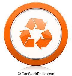 Genbrug, Appelsin, genbrug, ikon, Tegn