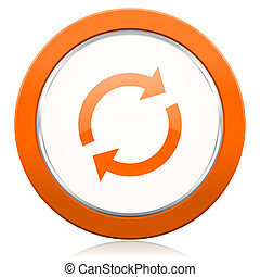 reload orange icon refresh sign