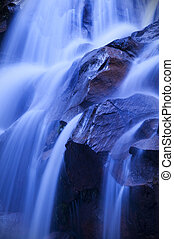 Waterfall in dawn - Nature waterfall in a early morning,...