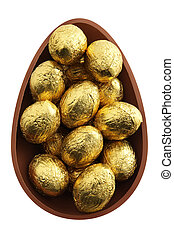 nest of chocolate easter eggs
