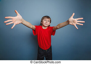 boy, teenager, twelve years old, wearing red shirt,...