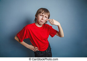 boy, teenager, twelve years in red shirt, nose pimple...
