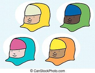 Set of Muslim Female Faces