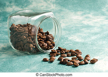 Coffee and beans on retro background - Coffee with beans in...