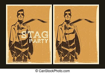 Set of vector Stag party posters - Set of Stag party posters...