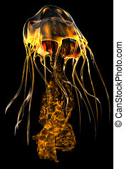 Glow Gold Jellyfish - The jellyfish is a predator of the...