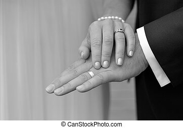 Wedding Day - - Just married young couple showing up their...