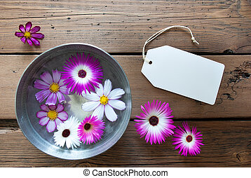 Silver Bowl With Cosmea Blossoms With Empty Label For Copy...