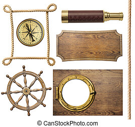 nautical objects rope, compass, steering wheel, signboard,...