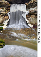 Icy Waterfall - Indiana's Porter Cave has a waterfall...
