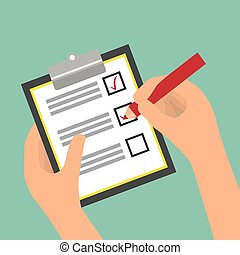 Survey design, vector illustration. - Survey design over...