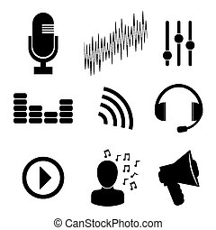 Sound design, vector illustration - Sound design over white...