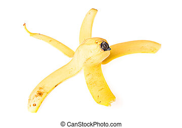 Peel of banana on white background