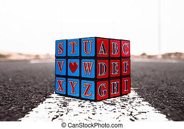 Rubiks Cube Solved on the Asphalt Road